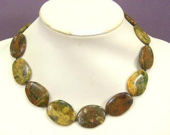 Necklace Rhyolite 32mm Smooth Stones 925 NSRY5569