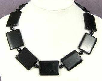 Necklace Black Onyx 40mm Pillows 925 NSNX4400