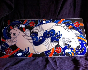 Hand Made 'Koi Carp' Mirror 32x15""