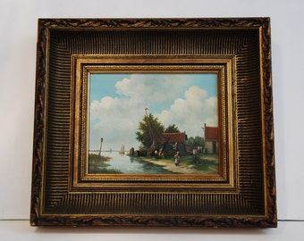 Oil painting after the Dutch XVIII Century school, on board with frame, circa 1960