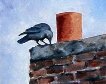 Kilmollock Crow, Irish crow, Ireland, birds, 6 x 6, original art, oil painting