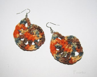 Crochet earrings beautiful colorful earrings 100 % cotton earrings designer earrings handmade earrings gift ideas for women under 15 (CE-5)