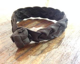 4 Strand Thick Flat Plait - Kangaroo Leather – Bracelet