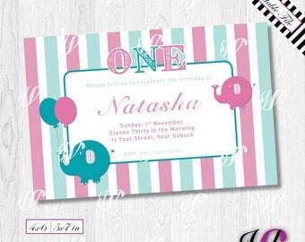 Baby Elephant 1st Birthday Invitation - BE01-I