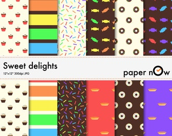 Desserts digital paper - this 'sweet delight' digital paper set comes with mouth-watering candy colours and patterns