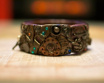 Unique Handcrafted Steampunk Bangle Industrial Fine Detail Polymer Clay Bracelet
