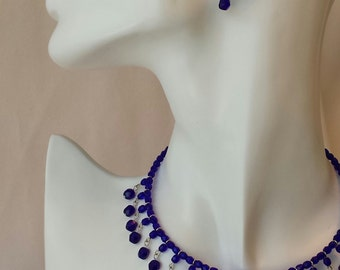 Cobalt Fire Polish Choker Necklace on Memory Wire, with matching earrings