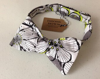 Floral Grey & Hint of Lime Bow Tie