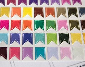 32 solid flag stickers white stitching, banner bunting, planner stickers, sticker reminder checklist sticker eclp filofax happy planner