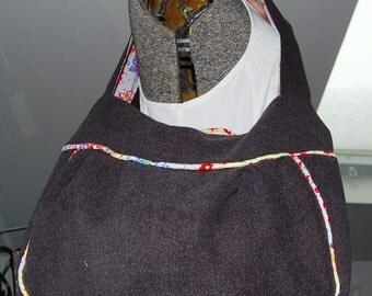 The Buckmaster Hobo - A medium shoulder grey flannel hobo bag