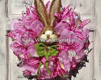 Pink Bunny Wreath