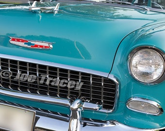1955 Blue Chevrolet, Classic Cars, Automotive Decor, Automobile Photography, Wall Art, Old Cars, Car Pictures
