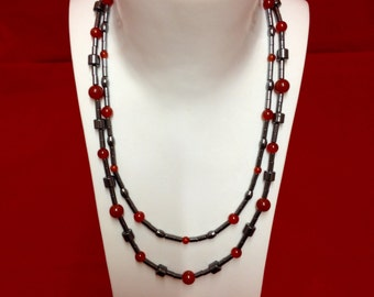 Hematite & Carnelian necklace