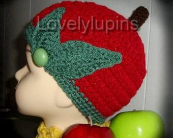 apple, crochet hat, child's hat, sweet apple hat, crochet fruit beanie, red apple hat, chapeau bebe, girl's skullcap, le chapeau de fille