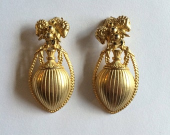 Large Gold Tone Baroque Style Earrings