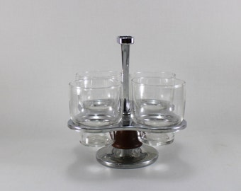 Retro Chrome and Wood Caddy with 4 Glasses.