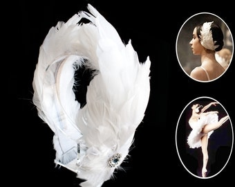 Ballerina Swan Feathers Headband,Wedding Bridal Bridesmaid Headpiece,Costume Hair Band,Halloween Headpiece-WH10F14