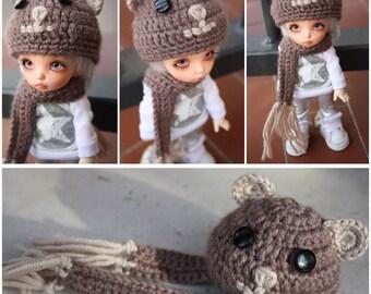 bjd animal hat and scarf for pukifee, yosd, msd, sd