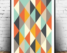 Abstract Poster, Mid Century Art print, Retro Poster, Geometric Art Print, Geometric poster, Scandinavian art, Triangles art, Home decor