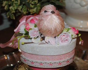 Pink Bird GIFT BOX/Keepsake Box, Bridal and Baby Shower, Sweet Pink Bird, Glitter and Ribbon, Perfect For Gift Card or Piece of Jewelry