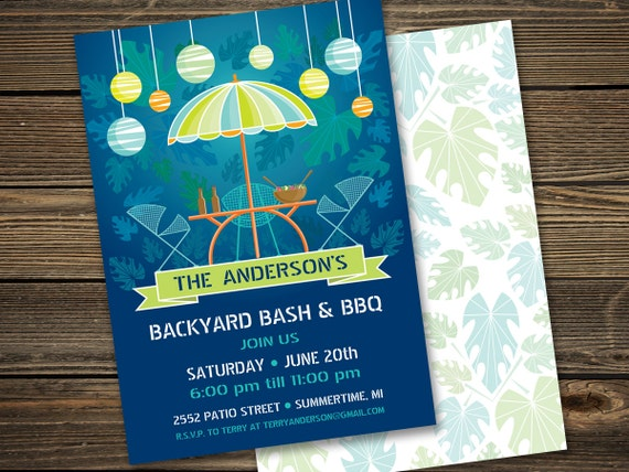 Summer Backyard Party Invitation : Summer Patio Party Invitation, Backyard BBQ, Retro, Glowing lanterns