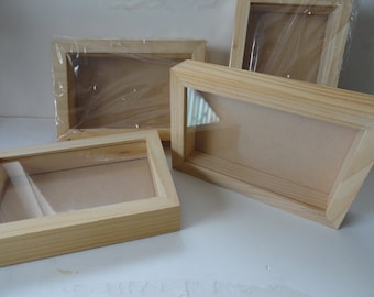Pine Wood Shadow Box with Glass Front