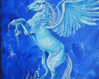 Winged Unicorn fantasy unicorn original artwork unicorn canvas art