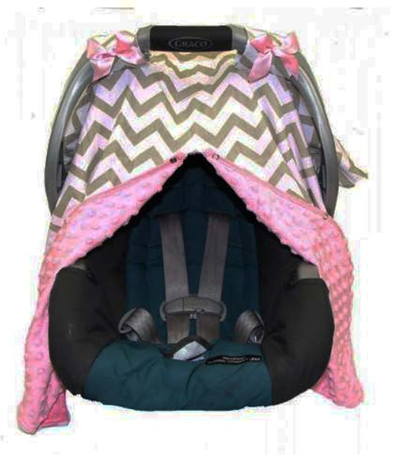 Pink And Gray Chevron Minky Car Seat Cover By