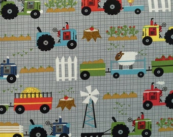 Moda Oink A Doodle Moo Tractor Garden Steel Gray BTY - 30523-20