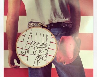 "5"" Bruce Springsteen Born In The USA Embroidery Hoop Art"