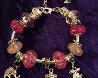 SALE Silver rabbit elephant flower charms bracelet with pink european beads