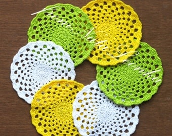 Crochet Coasters|Doilies for home decor Set of 6 crochet doily handmade lace crochet