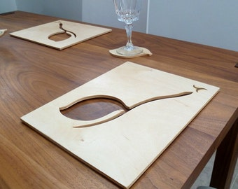 Handcrafted Place mat and Coaster Set - Leaf cut Out Design