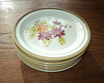 6 Vintage Hand painted Salad and/or Dessert Plates with hand painted plum blossom design by Andre Poncho, Made in Korea in Mint Conditon