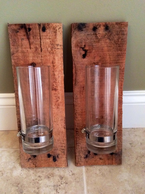 Wood And Glass Candle Wall Sconces : Candle holder Rustic Pallet Wood Wall Sconce Beer glass