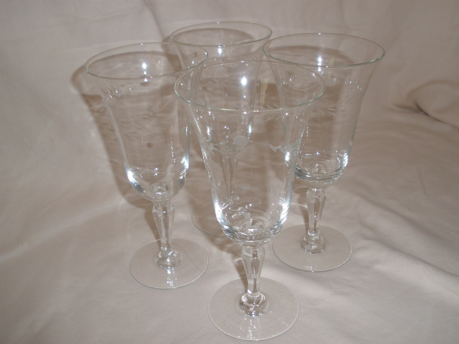 Hand blown etched crystal wine glasses by euphoricdepressions - Hand blown champagne flutes ...