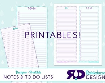 Designer Printable Notes and To-Do Lists in Teal and Purple