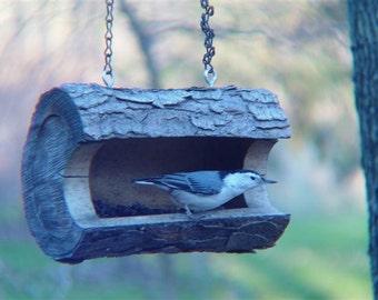 Bird Feeder-Unique Log Birdfeeder -Hand Made  -  Unique Bird feeder - The Original Natural Log Seed Feeder- upcycled from fallen trees-