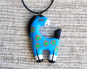 Blue charming necklace horse in green apples Polymer clay Jewelry, horse necklace, Animal pendant, Pony pendant FREE SHIPPING