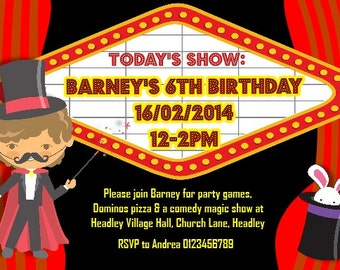 Printed Personalised Magic Birthday Party Invitations x10