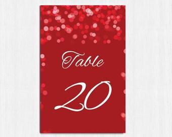 Table Numbers, Elegant Red table numbers, Printable table cards, red, red wedding, Digital file, wedding table number, red table no cards