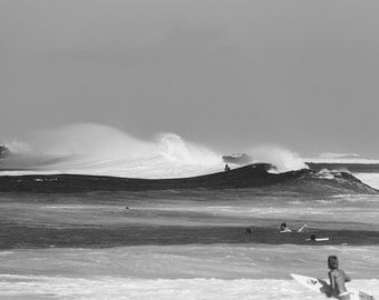 Surfing Photography, Surf Poster, Ocean Art, Black and White Photography, Beach Print, Big Waves, Hawaii North Shore, Endless Summer
