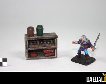 Dungeons and dragons scenery : Miniature shelf with accessories