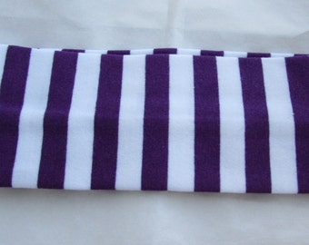 Purple Stripe Headband Purple And White Cotton And Spandex Girls Accessories Stretch Hairband Hair Accessories Young Girls Hairband Hair