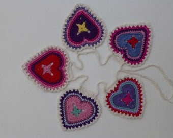 Granny Sweet Heart Crocheted Garland Bunting - free shipping!