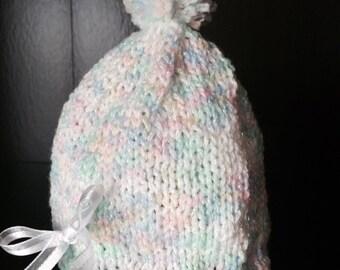 Knit newborn baby hat.