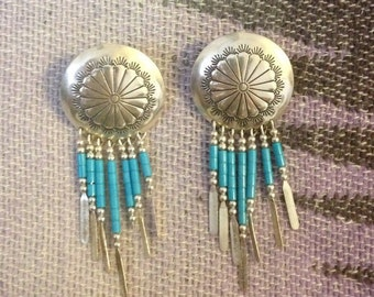 Vintage sterling silver southwest navajo style turquoise earrings 2.5""