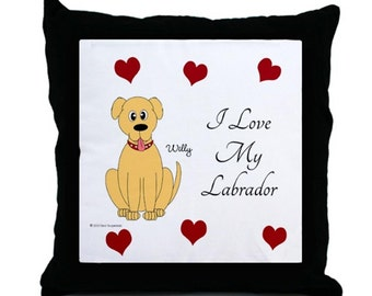 All Hearts Yellow Labrador Pillow. Personalized