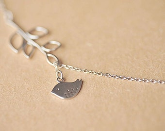Necklace——925 Sterling Silver Bird and Branch Necklace,Lovely Bird Necklace
