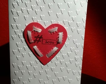 Valentine's Day Card, White & Red, #Love/XOXO